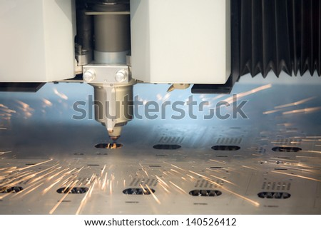 laser cutting machine technology - stock photo