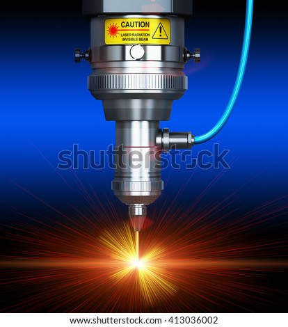 Laser cutting metal industry concept: 3D render illustration of industrial digital CNC - CO2 invisible laser beam cutter machine cutting stainless steel sheet with lot of bright shiny sparkles - stock photo