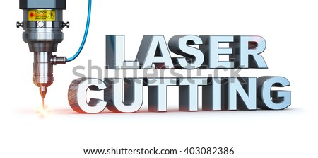 Laser cutting metal industry concept: industrial digital CNC - computer numerical control CO2 invisible laser beam cutter machine with symbol text isolated on white background - stock photo