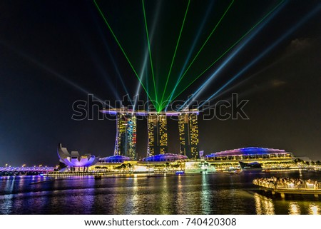laser light show by marina bay stock photo edit now shutterstock
