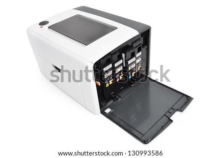 Laser printer and Cartridges - stock photo