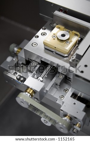 Laser stage in the Scanning Electron Microscope (SEM) machine - stock photo