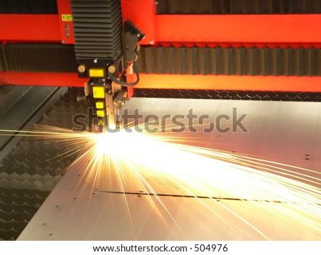 Lasercutting close-up from machinery industry - stock photo
