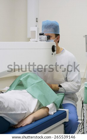 Lasik ophthalmology surgeon - stock photo