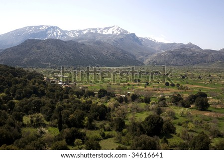 Lassithi Plateau - Crete.  Its fertile, crater-like land produces a variety of fruit and vegetables - Greece - stock photo