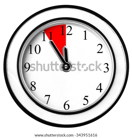 Last five minutes on wall clock isolated - stock photo