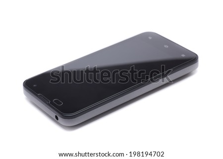 last generation mobile phone with screen protector, tempered glass - stock photo