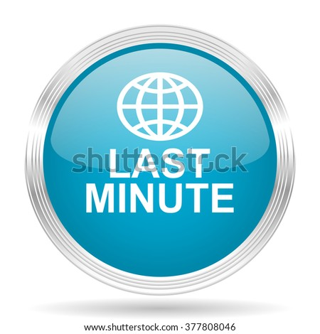 last minute blue glossy metallic circle modern web icon on white background