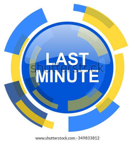 last minute blue yellow glossy web icon