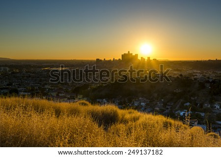 Last-minute scouting led to this fantastic viewpoint overlooking the metropolis of Los Angeles. - stock photo