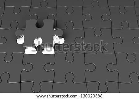 Last piece of the puzzle with light, three-dimensional rendering - stock photo
