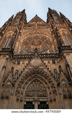 last rays of sun hitting the St. Vitus Cathedral in Prague, Czech republic