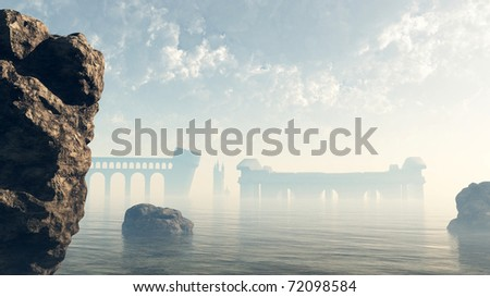 Last remains of the ruined lost city of Atlantis viewed across a misty sea, 3d digitally rendered illustration - stock photo