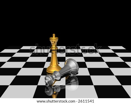 last victory of chess competition - stock photo