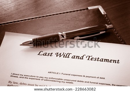 Last Will and testament document - stock photo