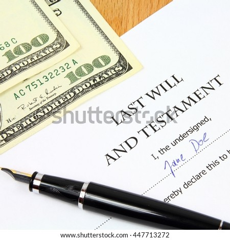 Last Will and Testament with a fictitious name and signature.