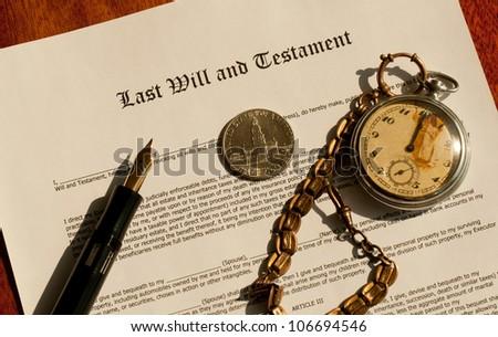 Last Will legal document and pen, dollar, clocks - stock photo