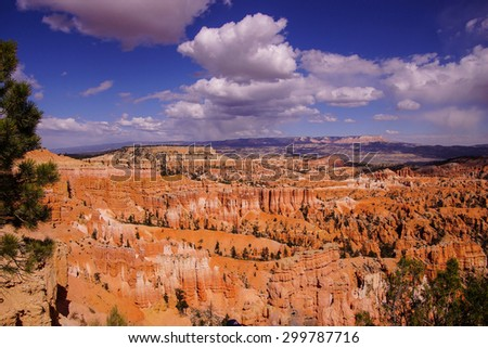 Late afternoon light colors the sandstone pinnacles in the canyons of Bryce Canyon National Park, Utah - stock photo