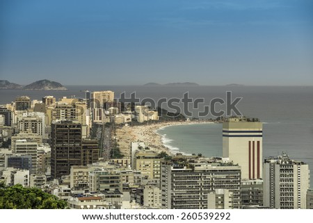 Late afternoon on Ipanema Beach in Rio de Janeiro, Brazil - stock photo