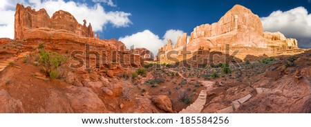 Late afternoon panoramic view of the stunning Park Avenue rock formation in Arches National park, UT