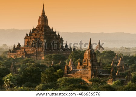 Late afternoon sun shines on the old Sulamani Temple of an ancient city of Bagan, Myanmar - stock photo