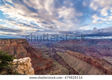Late afternoon view of the Grand Canyon