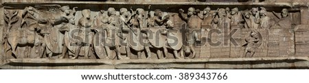 Late ancient roman relief from Arch of Constantine with scene of the siege of Verona, one of the battle between Constantine and Maxentius armies (4th century) - stock photo
