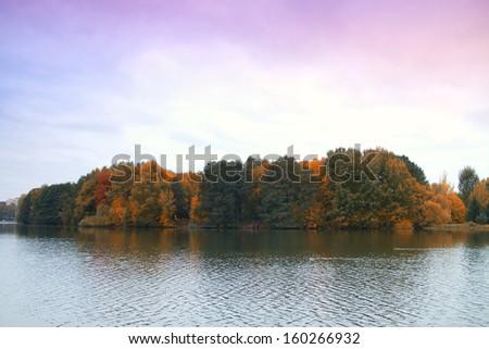 late autumn river - stock photo
