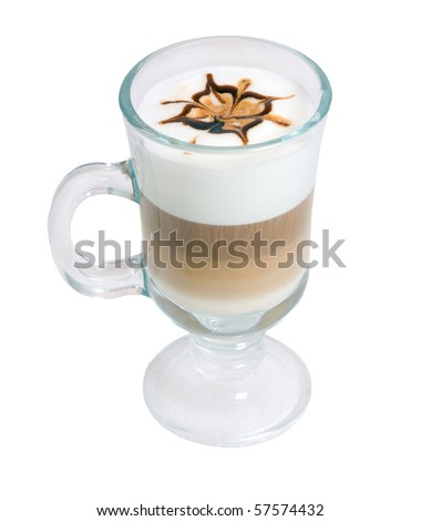 late coffee with chocolate  isolated on white background - stock photo