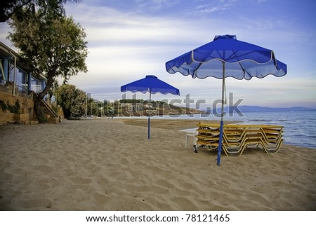 Late day on the beach in Karfas, Khios in Greece - stock photo