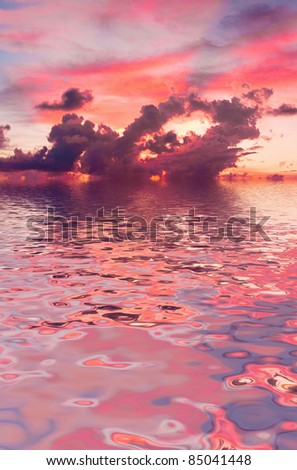 Late in the Evening Over Water - stock photo
