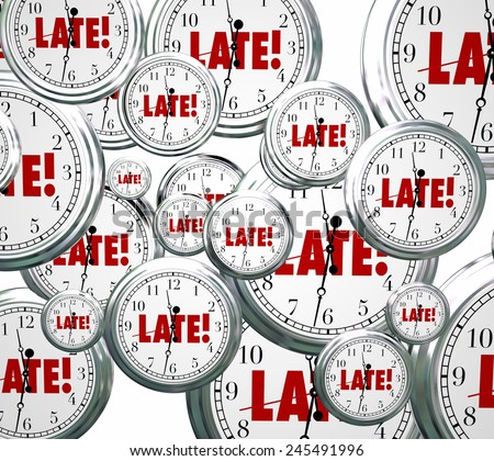 Late word on clocks flying by to illustrate being tardy, overdue or behind schedule and the need to hurry or rush to catch up - stock photo