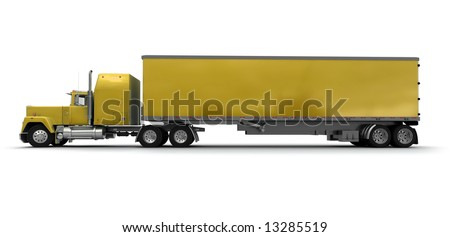 Lateral view of a big yellow trailer truck against white background