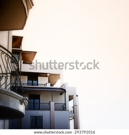 Lateral view of a hotel. - stock photo