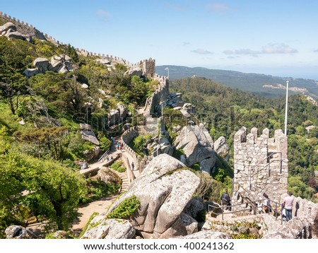 Lateral view of the Castle of the Moors - stock photo