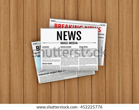 Latest issue. Morning newspapers on wooden floor or table. 3D illustration of tabloid. Flat lay - stock photo