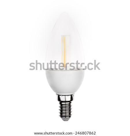 Latest LED light bulb in candle shape and reflecting isolated on white - stock photo