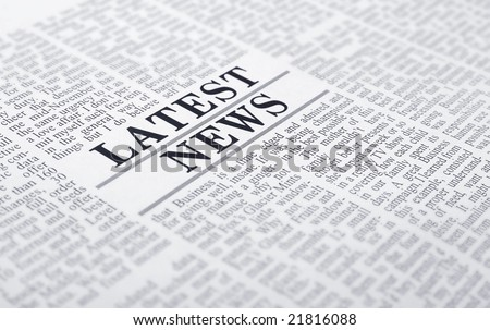 latest news on a newspaper page - stock photo