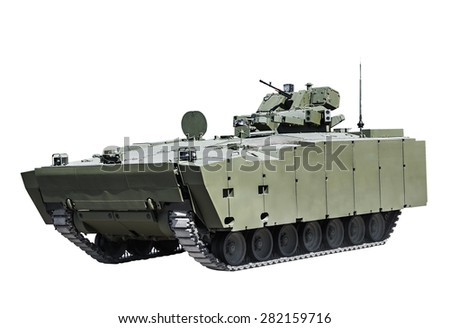 latest Russian infantry fighting vehicle is isolated on a white background