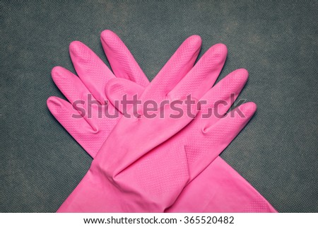 latex gloves for cleaning - stock photo