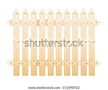 Lath wooden fence isolated on white background.
