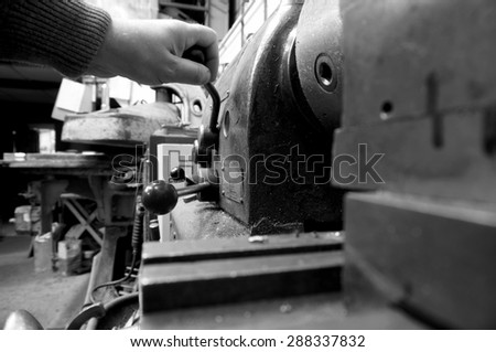 Lathe industrial man operating