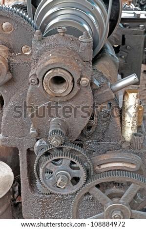 Lathe turning to steel. - stock photo