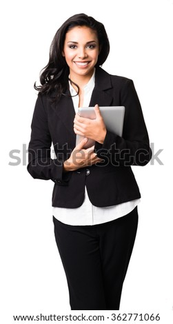 Latin Businesswoman with digital tablet computer on white background - stock photo