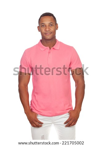 Latin casual men in pink isolated on a white background - stock photo