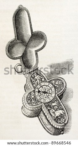 Latin cross shaped old clock (16th century) from Prince Saltycov collection. Engraved by Jourdan, published on L'Illustration, Journal Universel, Paris, 1858 - stock photo