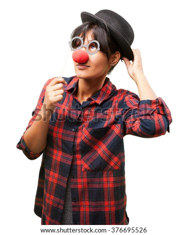 latin girl wearing clown clothes - stock photo