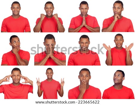 Latin man with different gestures. Sequence of many photos isolated on white background - stock photo