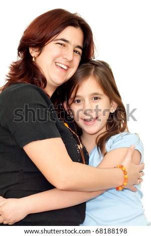 Latin mother and daughter isolated on a white background - stock photo
