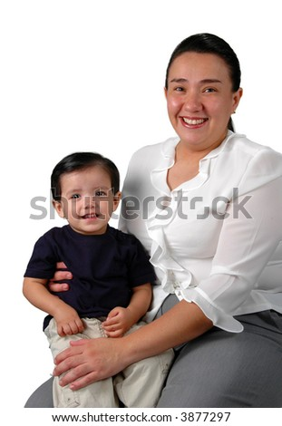 Latin mother and son isolated over a white background